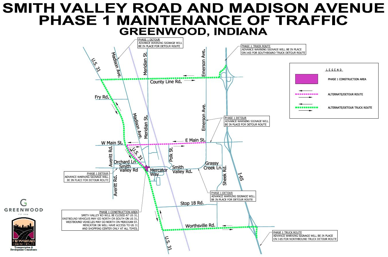 Smith Valley Road/Madison Avenue Phase 1 – Detour Route