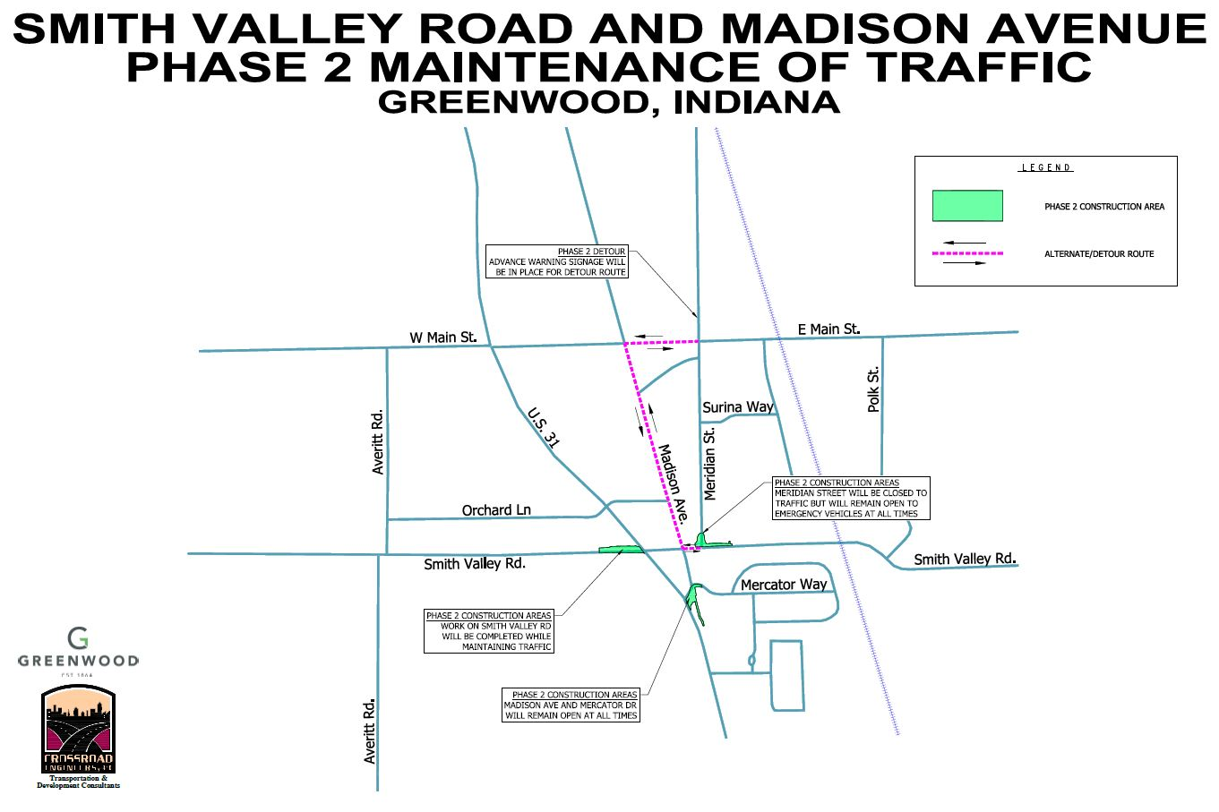 Smith Valley Road/Madison Avenue Phase 2 – Detour Route