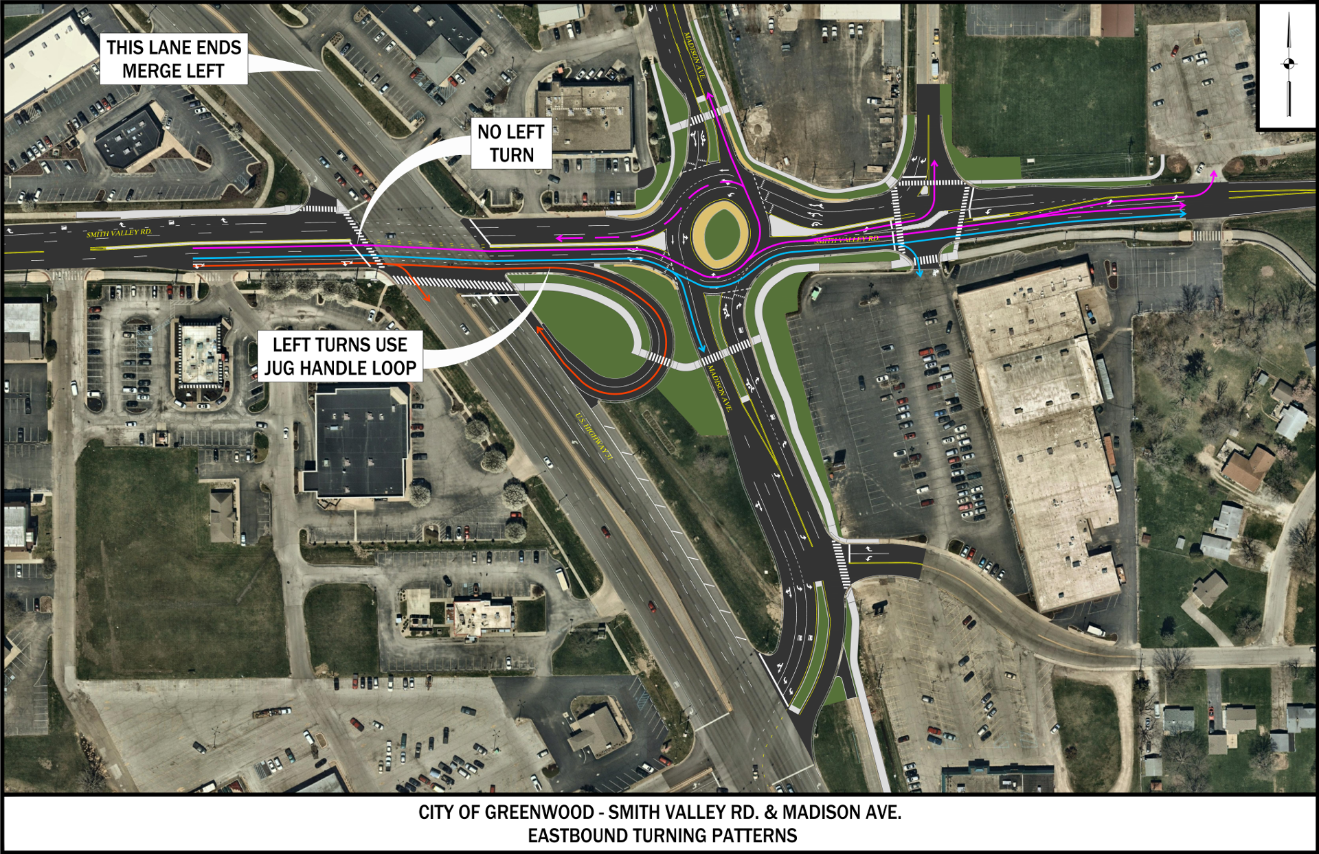 Madison/Smith Valley Roundabout - Eastbound Traffic